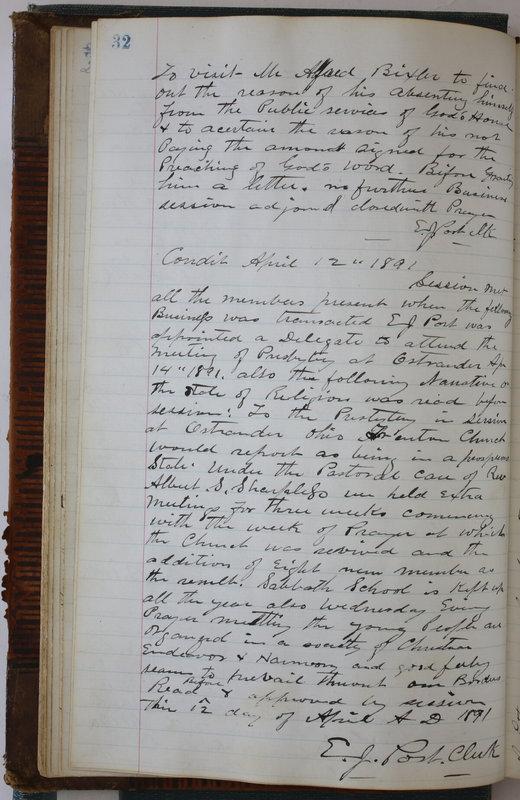 Sessional Records of the 1st Presbyterian Church of Trenton Delaware County Ohio 1873-1937 (p. 36)