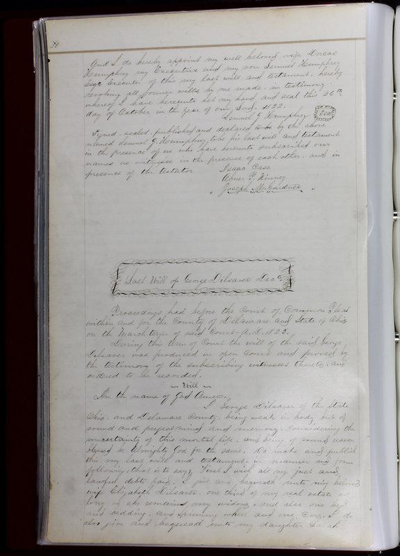 Delaware County Ohio Will Records Vol. 1 1812-1835 (p. 62)