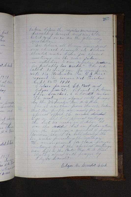 Sessional Records of the 1st Presbyterian Church of Trenton Delaware County Ohio 1873-1937 (p. 254)