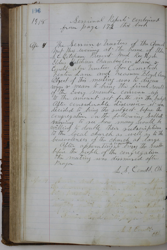 Sessional Records of the 1st Presbyterian Church of Trenton Delaware County Ohio 1873-1937 (p. 184)
