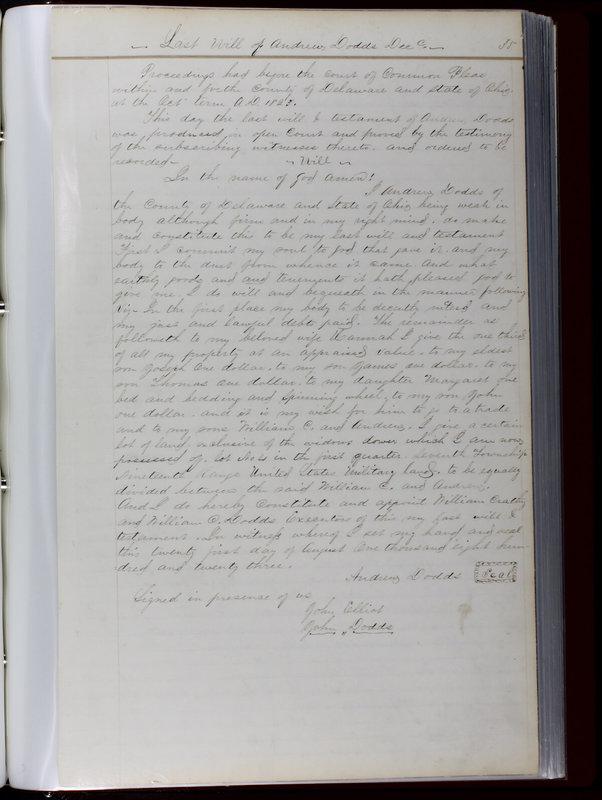 Delaware County Ohio Will Records Vol. 1 1812-1835 (p. 67)