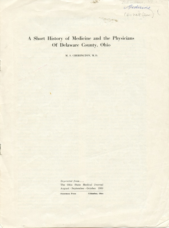 A Short History of Medicine and the Physicians Of Delaware County, Ohio (p. 1)
