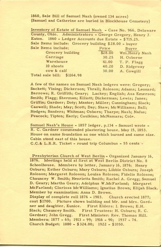 Berlin Township Program of the Delaware County Historical Society (p. 14)