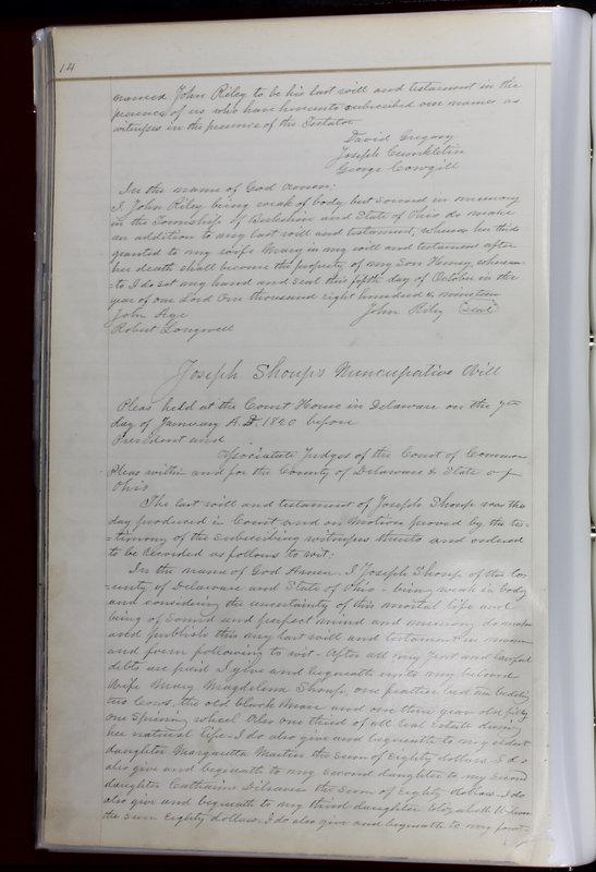 Delaware County Ohio Will Records Vol. 1 1812-1835 (p. 46)