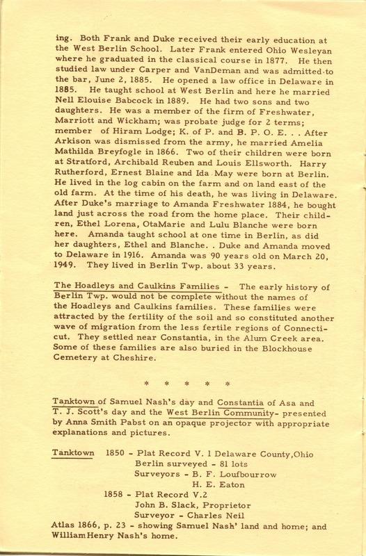 Berlin Township Program of the Delaware County Historical Society (p. 12)