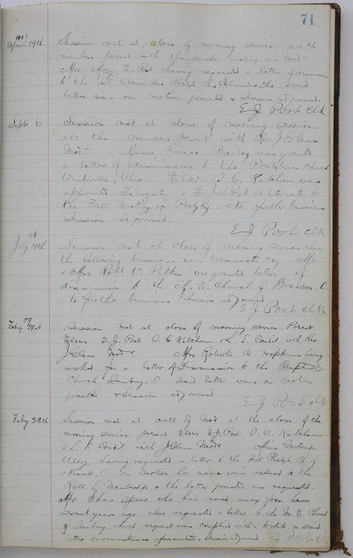 Sessional Records of the 1st Presbyterian Church of Trenton Delaware County Ohio 1873-1937 (p. 75)