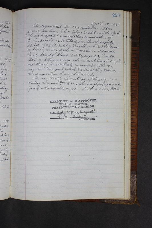 Sessional Records of the 1st Presbyterian Church of Trenton Delaware County Ohio 1873-1937 (p. 241)