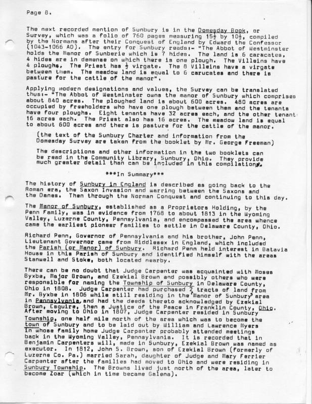 The Origin of the Name Sunbury (p. 8)