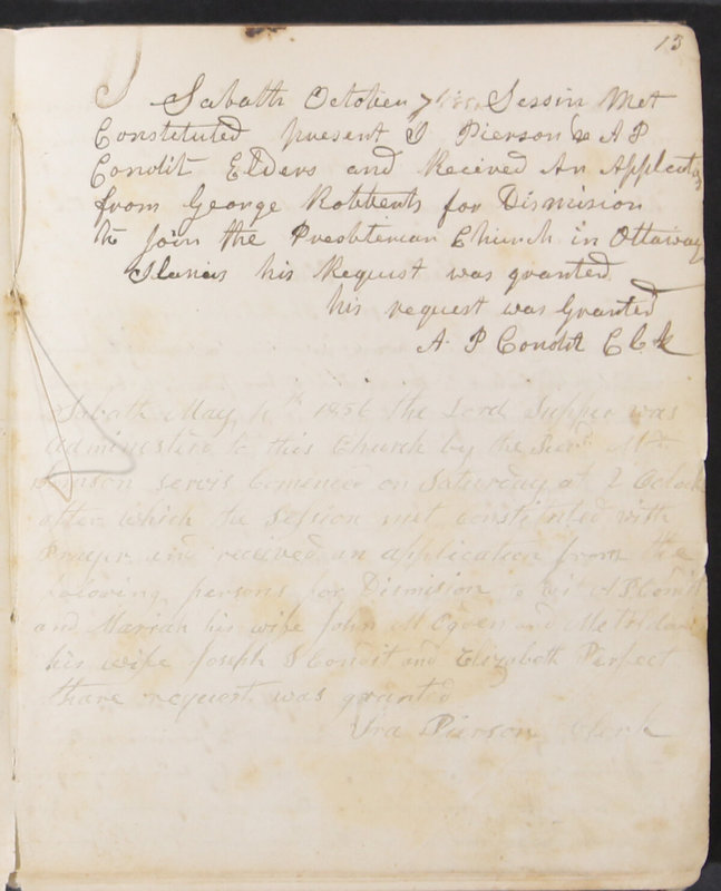 Sessional Records of the 1st Presbyterian Church of Trenton, Delaware Co., Ohio, 1831 (p. 19)