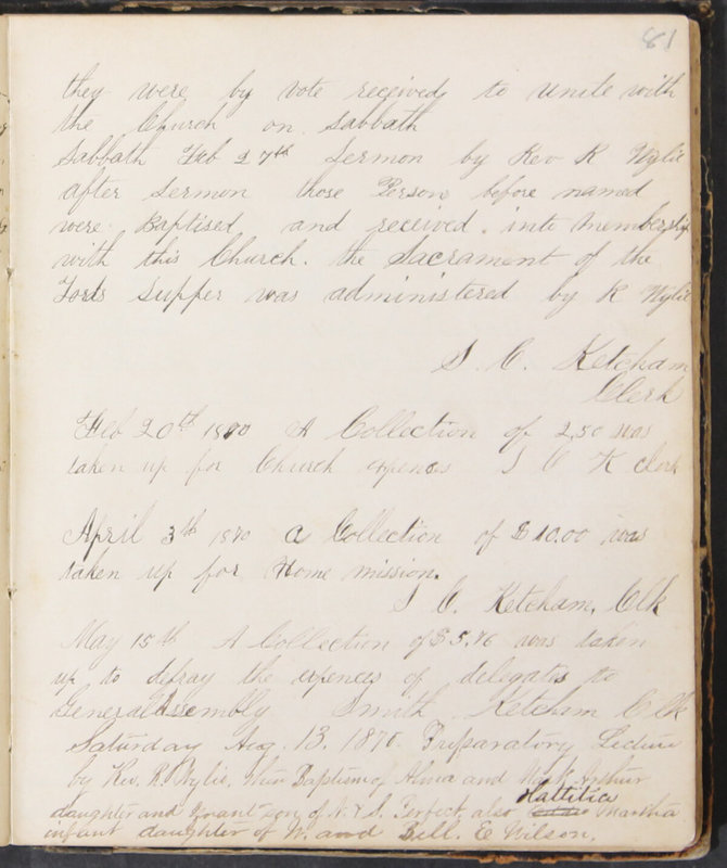 Sessional Records of the 1st Presbyterian Church of Trenton, Delaware Co., Ohio, 1831 (p. 87)