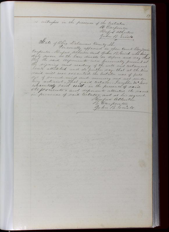 Delaware County Ohio Will Records Vol. 1 1812-1835 (p. 119)