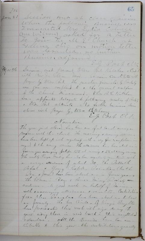 Sessional Records of the 1st Presbyterian Church of Trenton Delaware County Ohio 1873-1937 (p. 69)