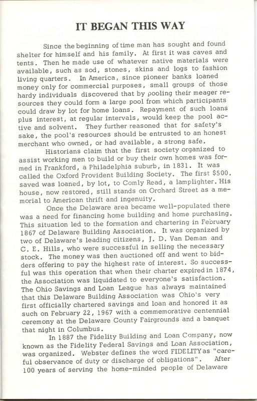 Fidelity Federal Savings and Loan Association 100 Years (p. 4)