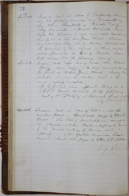 Sessional Records of the 1st Presbyterian Church of Trenton Delaware County Ohio 1873-1937 (p. 76)