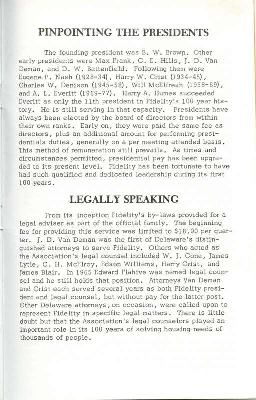 Fidelity Federal Savings and Loan Association 100 Years (p. 28)