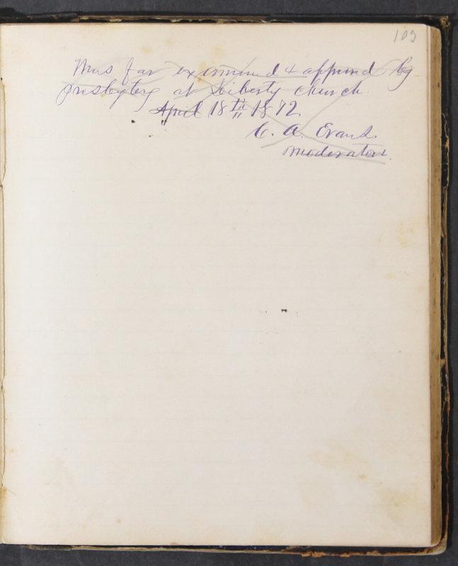 Sessional Records of the 1st Presbyterian Church of Trenton, Delaware Co., Ohio, 1831 (p. 109)
