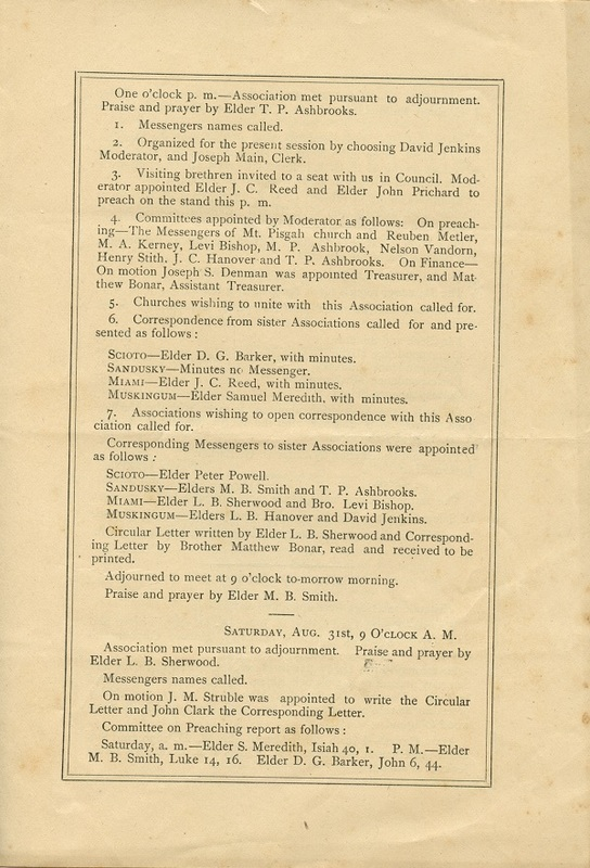 Minutes of the Forty-Sixth Annual Session of the Owl Creek Harmony Regular Baptist Association Begun and Held With Marlborough Church, Delaware County, O. (p. 3)