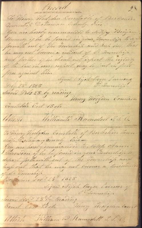 Record Book of Berkshire Township No. 2 1807-1843 (p. 15)