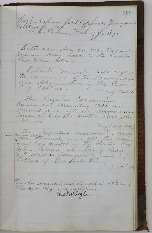 Sessional Records of the 1st Presbyterian Church of Trenton Delaware County Ohio 1873-1937 (p. 159)