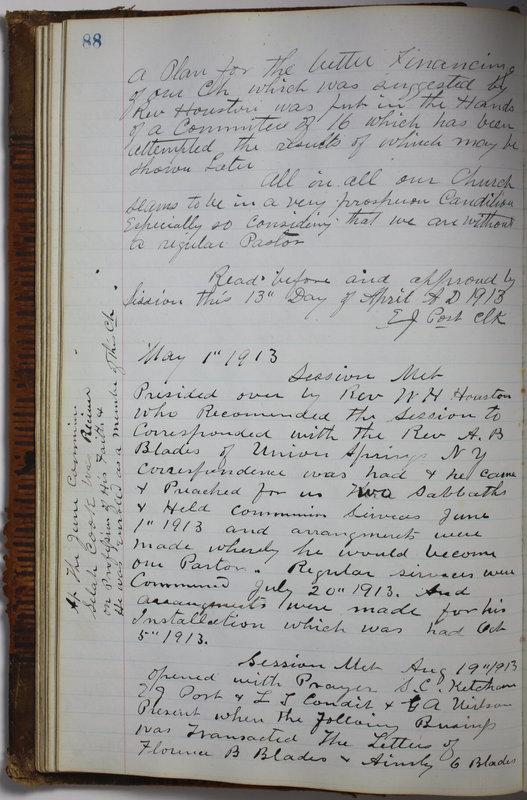 Sessional Records of the 1st Presbyterian Church of Trenton Delaware County Ohio 1873-1937 (p. 92)