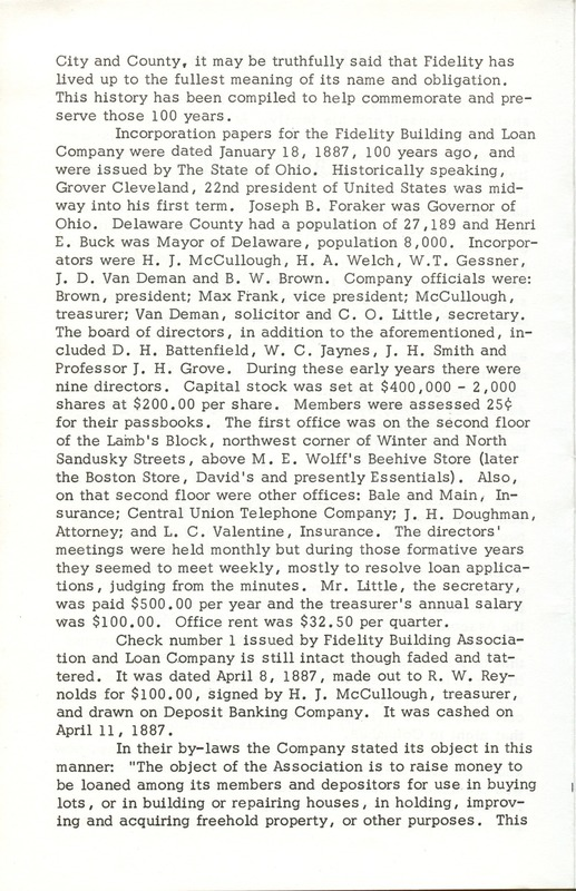 Fidelity Federal Savings and Loan Association 100 Years (p. 5)