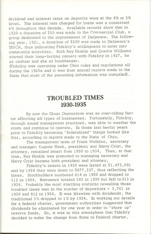 Fidelity Federal Savings and Loan Association 100 Years (p. 10)