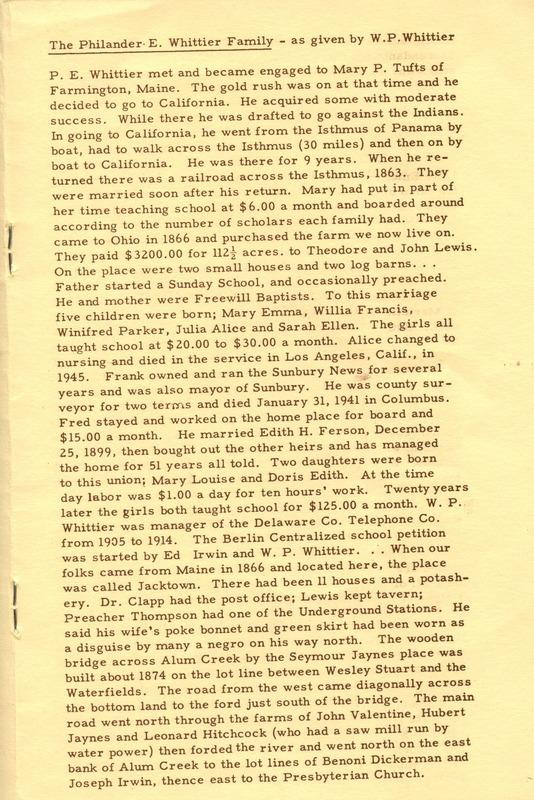 Berlin Township Program of the Delaware County Historical Society (p. 9)