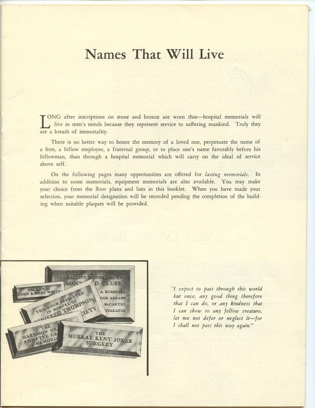 The Jane M. Case Hospital Building Campaign (p. 7)