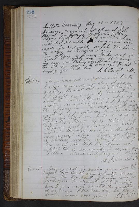 Sessional Records of the 1st Presbyterian Church of Trenton Delaware County Ohio 1873-1937 (p. 216)