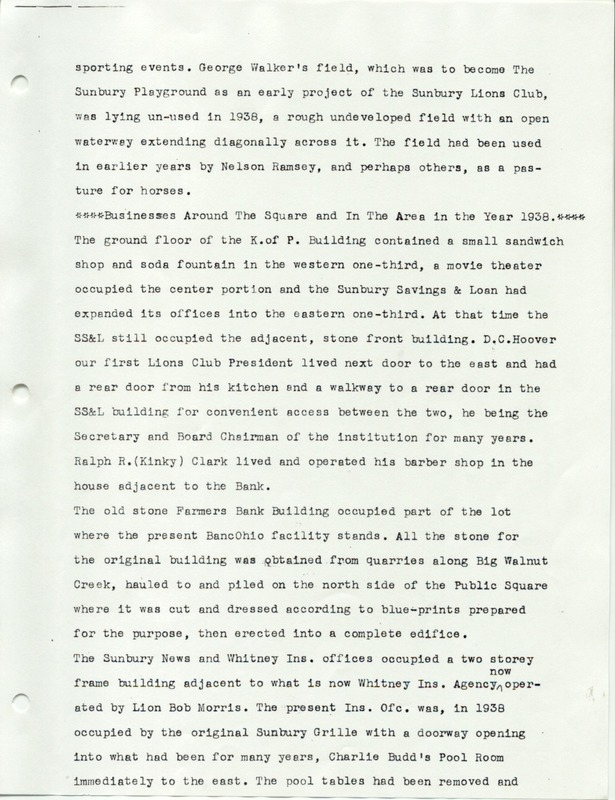 The Sunbury and Galena Communities and how they were in 1938 when Sunbury Lions Club Originated (p. 2)