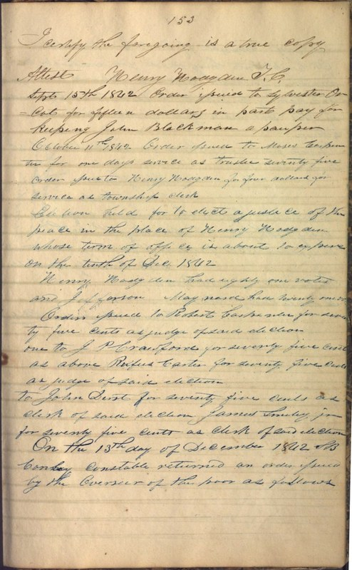Record Book of Berkshire Township No. 2 1807-1843 (p. 167)