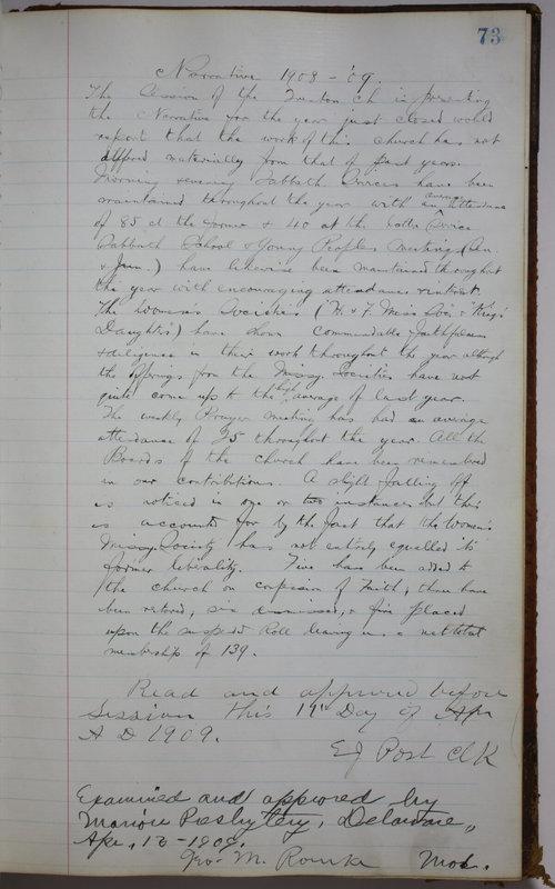 Sessional Records of the 1st Presbyterian Church of Trenton Delaware County Ohio 1873-1937 (p. 77)