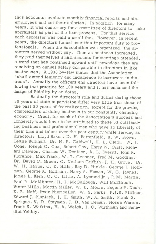 Fidelity Federal Savings and Loan Association 100 Years (p. 27)