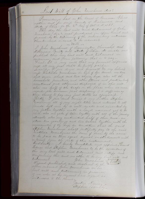 Delaware County Ohio Will Records Vol. 1 1812-1835 (p. 122)