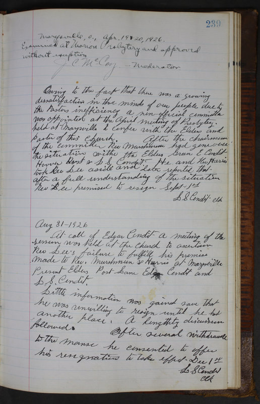 Sessional Records of the 1st Presbyterian Church of Trenton Delaware County Ohio 1873-1937 (p. 227)