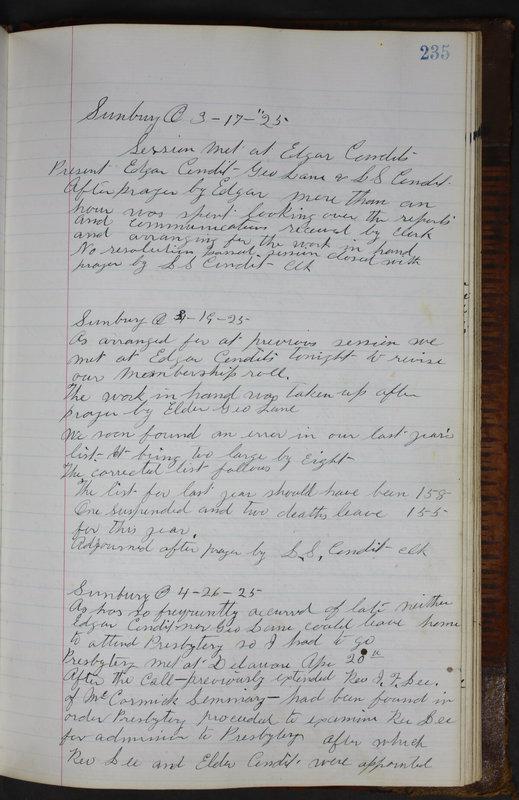 Sessional Records of the 1st Presbyterian Church of Trenton Delaware County Ohio 1873-1937 (p. 223)