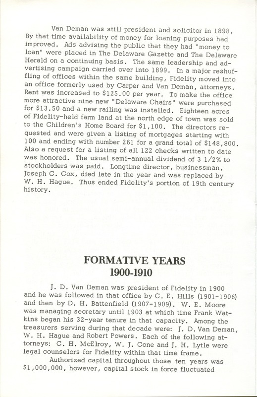 Fidelity Federal Savings and Loan Association 100 Years (p. 7)