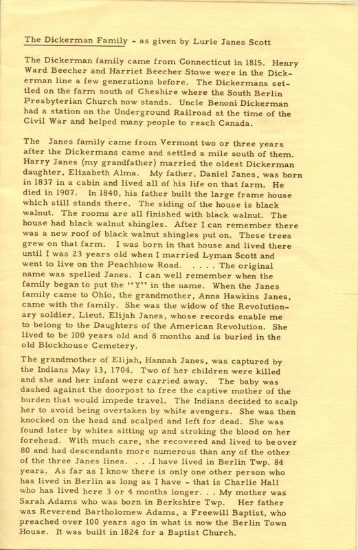 Berlin Township Program of the Delaware County Historical Society (p. 5)