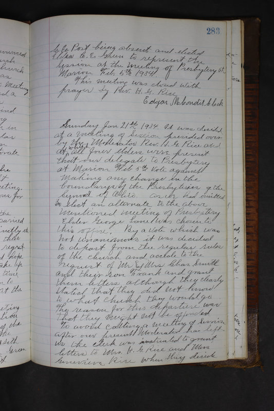 Sessional Records of the 1st Presbyterian Church of Trenton Delaware County Ohio 1873-1937 (p. 270)