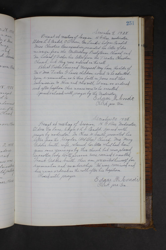 Sessional Records of the 1st Presbyterian Church of Trenton Delaware County Ohio 1873-1937 (p. 239)
