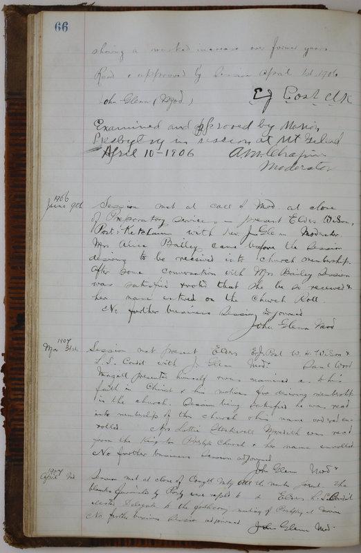 Sessional Records of the 1st Presbyterian Church of Trenton Delaware County Ohio 1873-1937 (p. 70)