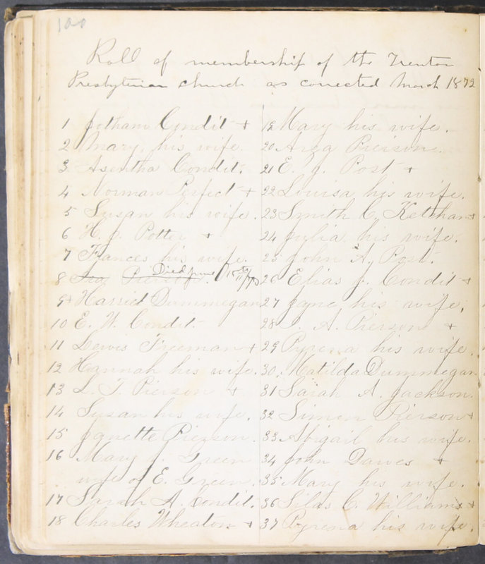 Sessional Records of the 1st Presbyterian Church of Trenton, Delaware Co., Ohio, 1831 (p. 106)