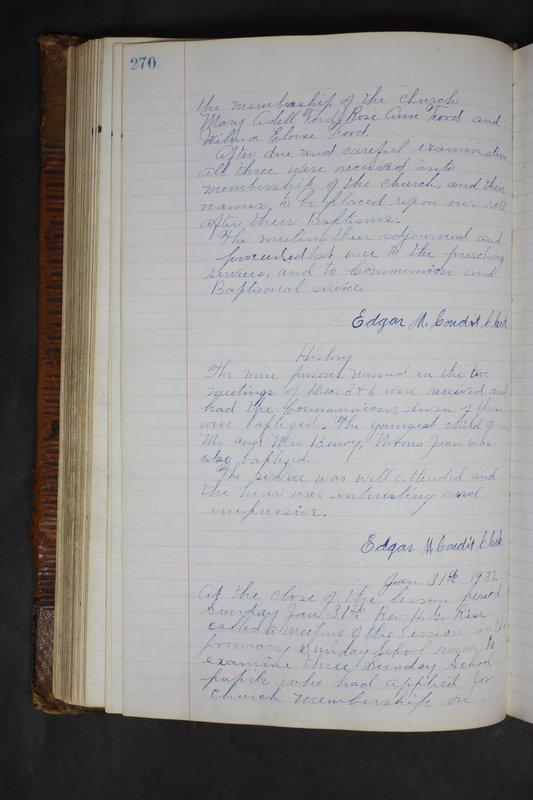 Sessional Records of the 1st Presbyterian Church of Trenton Delaware County Ohio 1873-1937 (p. 257)