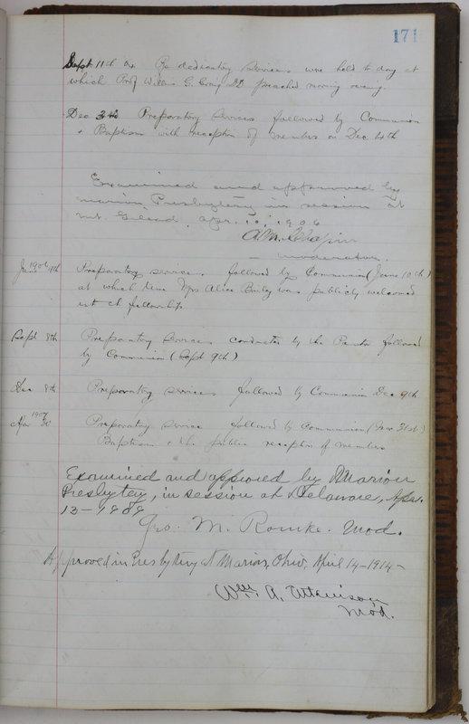 Sessional Records of the 1st Presbyterian Church of Trenton Delaware County Ohio 1873-1937 (p. 161)