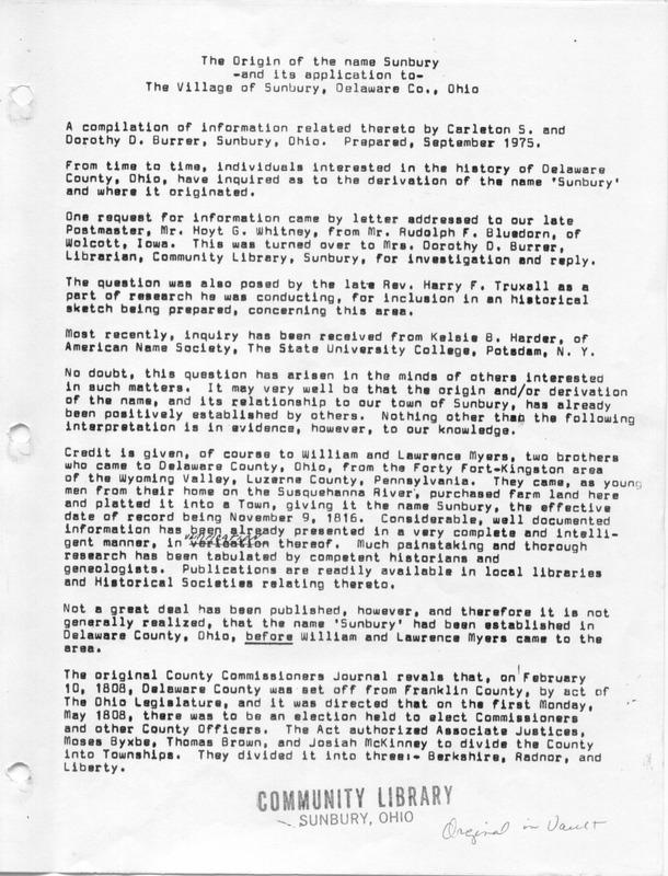 The Origin of the Name Sunbury (p. 1)