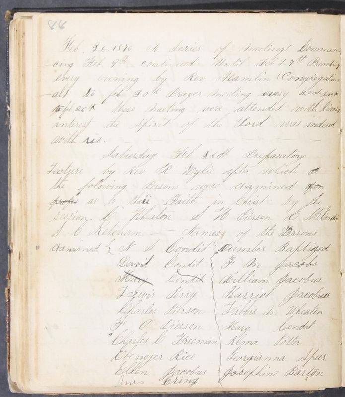 Sessional Records of the 1st Presbyterian Church of Trenton, Delaware Co., Ohio, 1831 (p. 86)
