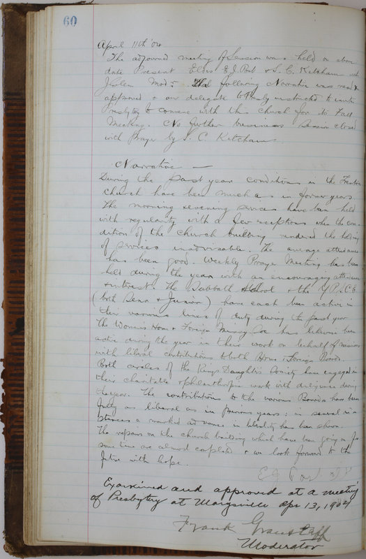 Sessional Records of the 1st Presbyterian Church of Trenton Delaware County Ohio 1873-1937 (p. 64)