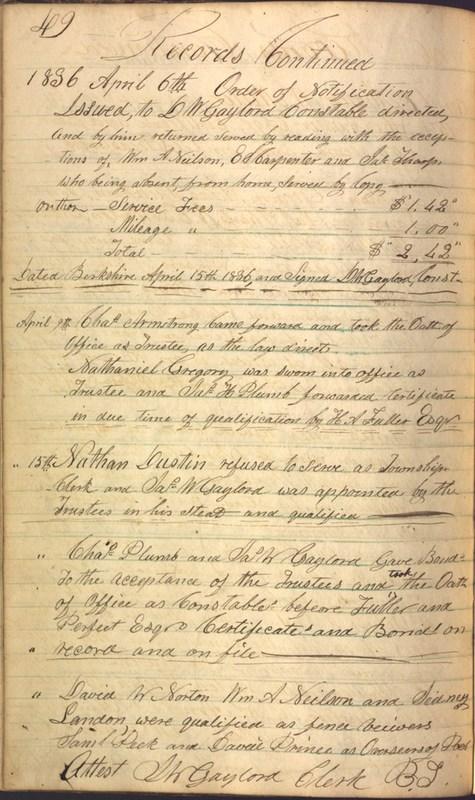 Record Book of Berkshire Township No. 2 1807-1843 (p. 62)