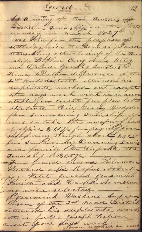 Record Book of Berkshire Township No. 2 1807-1843 (p. 25)