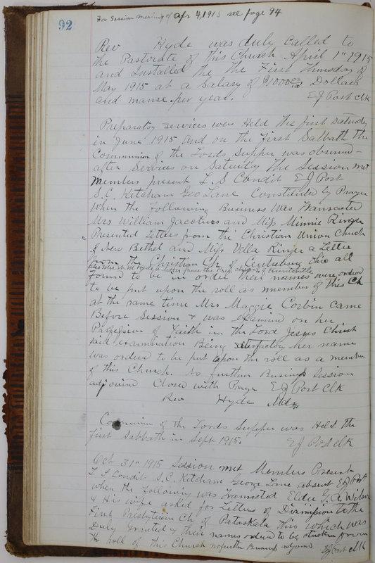 Sessional Records of the 1st Presbyterian Church of Trenton Delaware County Ohio 1873-1937 (p. 96)